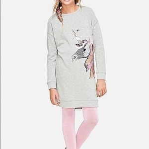 Justice Sequin Unicorn Grey Sweatshirt Dress Sz 10